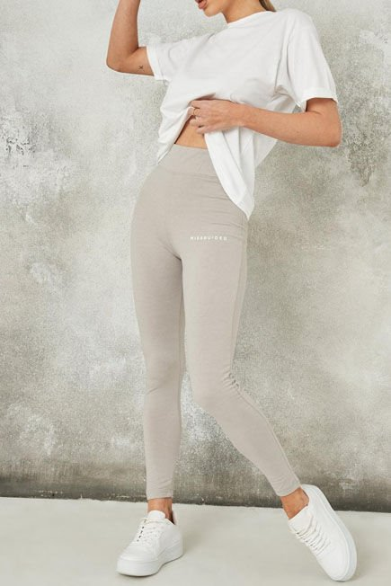 Missguided - Light Grey Missguided Deep Waistband Leggings