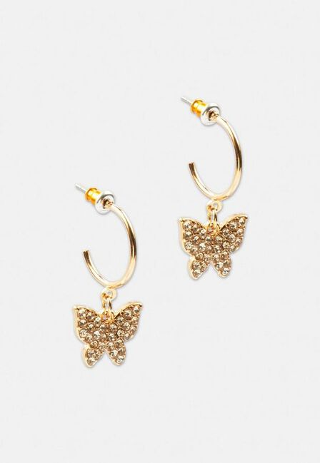 Missguided - Gold Gold Look Pave Butterfly Ditsy Hoop Earrings