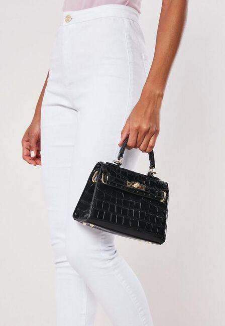 Missguided - Black Black Croc Mini Handbag