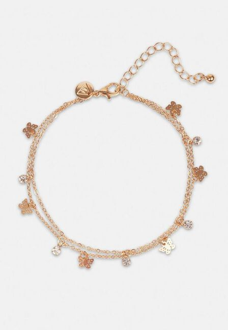 Missguided - Gold Gold Look Butterfly Anklet