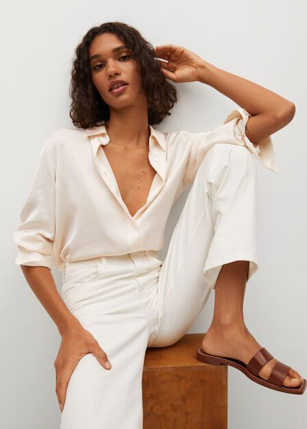 Mango - light beige Satin finish flowy shirt