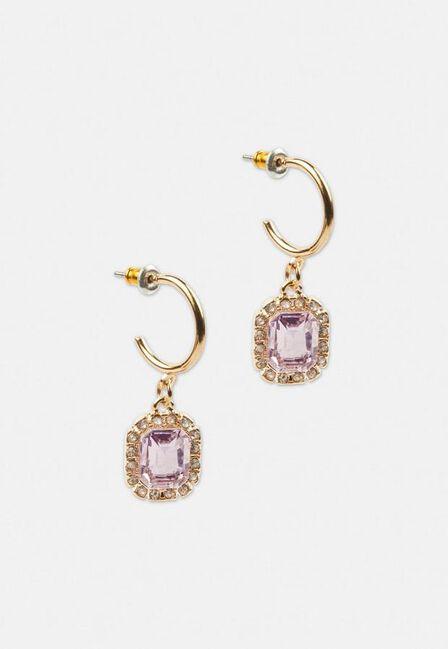 Missguided - Pink Gold Look Mini Gem Huggie Hoop Earrings