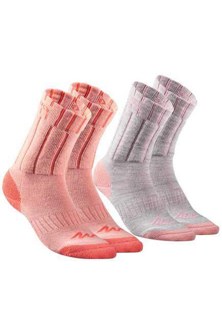 QUECHUA - Children's Mid Hiking Socks SH100 Warm x2 Pairs- Coral/Grey, EU 27-30