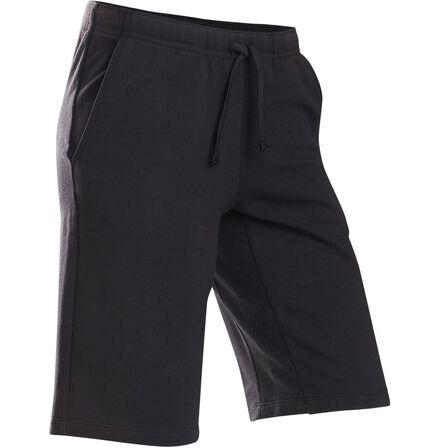 DOMYOS - 7-8Y  Boys' Breathable Cotton Gym Shorts 500, Black