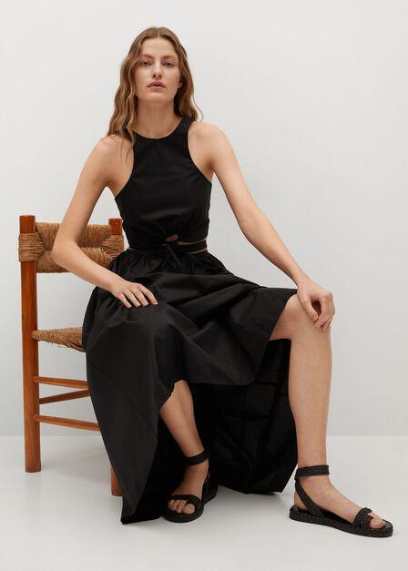 Mango - black Cotton flared skirt, Women