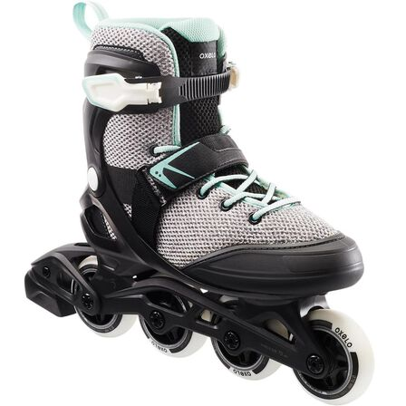 OXELO - EU 37  Fit100 Women's Inline Fitness Skates - Grey/Peppermint, Pale Grey
