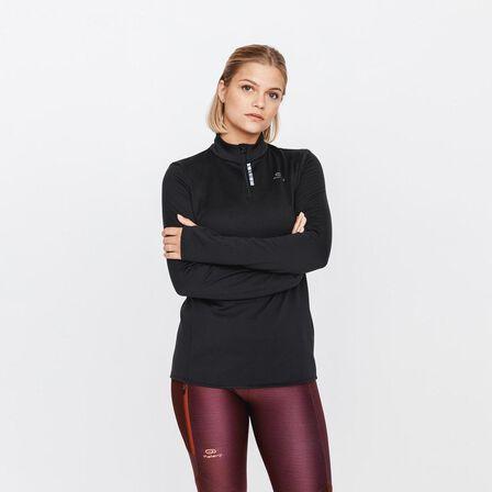 KALENJI - Extra Small  ZIP RUN WARM WOMEN'S LONG-SLEEVED RUNNING T-SHIRT, Black