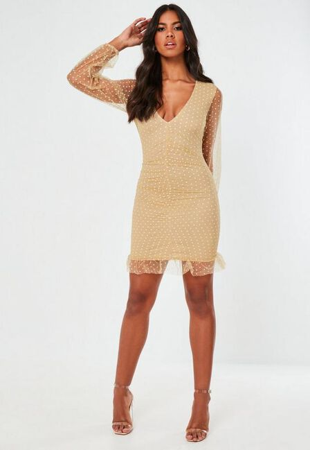 Missguided - Camel Camel Mesh Dobby Organza Ruched Mini Dress