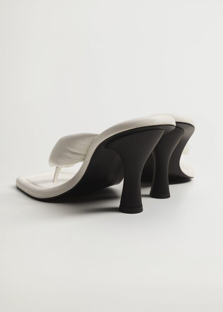Mango - white Quilted heeled leather sandals