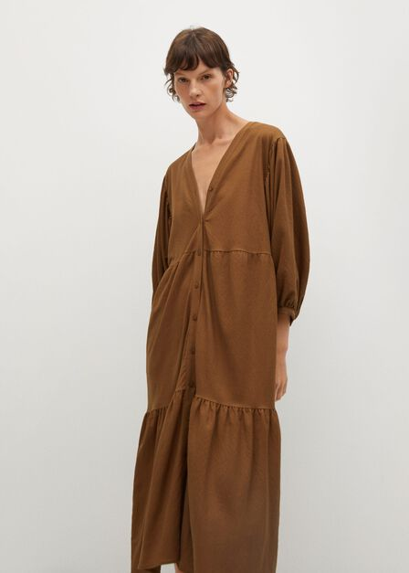 Mango - medium brown Fluted hem dress