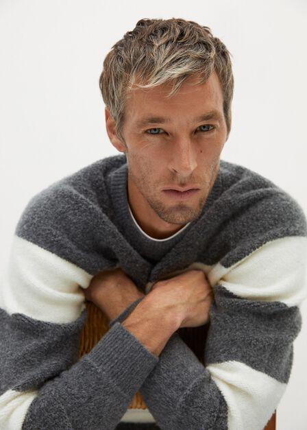 Mango - grey Stripe textured wool-blend sweater