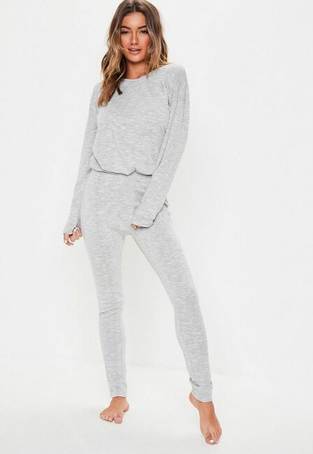 Missguided - Grey Grey Soft Knit Long Sleeve Loungewear Tracksuit