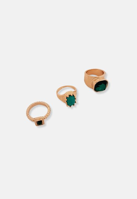 Missguided - Emerald Stone Ring Pack