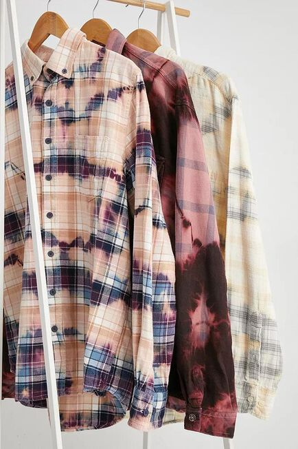 Urban Outfitters - Assorted Urban Renewal Remade From Vintage Tie-Dye Check Shirt