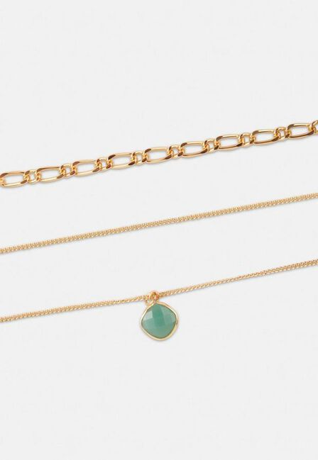 Missguided - Gold Gold Look Curb Chain Multirow Jade Stone Necklace