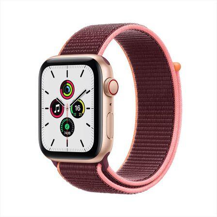 APPLE - Apple Watch SE GPS + Cellular  44mm Gold Aluminium Case with Plum Sport Loop