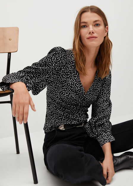 Mango - black Printed draped detail blouse