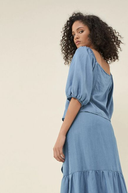 Salsa Jeans - Blue Regular fit shirt with balloon sleeves