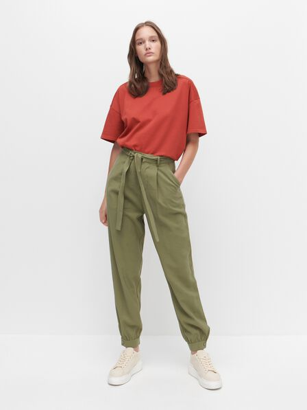 Reserved -    Viscose trousers with belt - Khaki