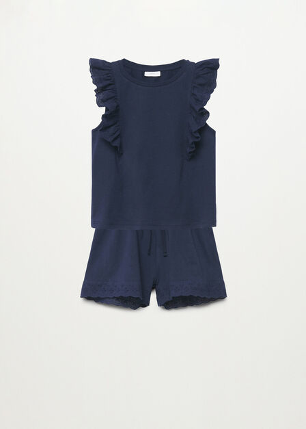 Mango - navy Embroidered cotton short pyjamas
