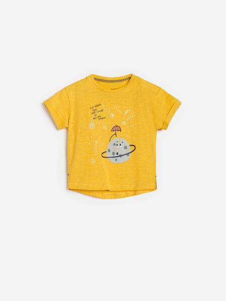 Reserved - Yellow Cotton T-Shirt With A Print, Kids Boy