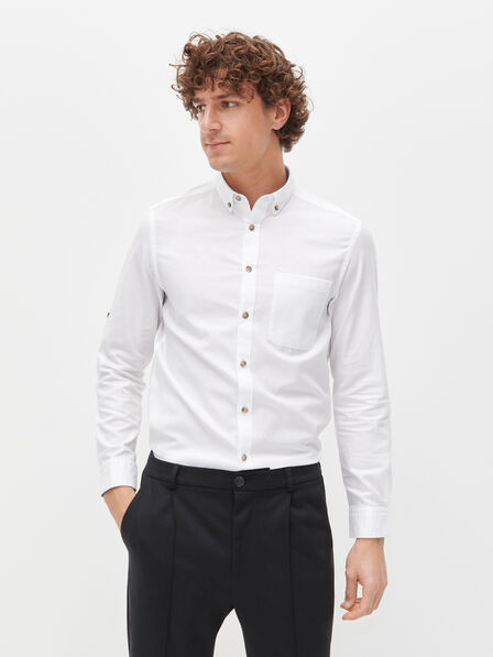 Reserved - White Regular Fit Cotton Shirt, Men