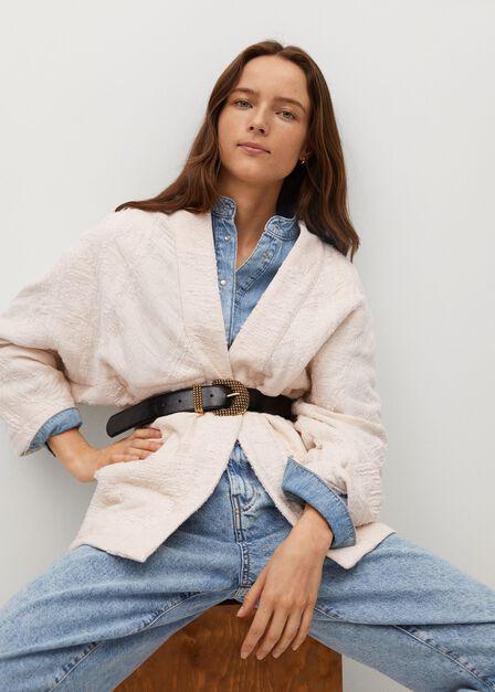 Mango - light beige Textured cotton-blend jacket