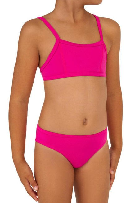 OLAIAN - Girls' Two-Piece Crop Top Swimsuit - Bali Pink, 15-16Y