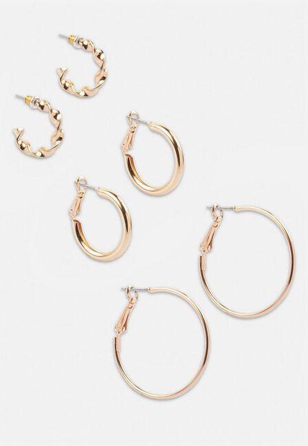 Missguided - Gold Gold Look Twist Hoop Earring 3 Pack