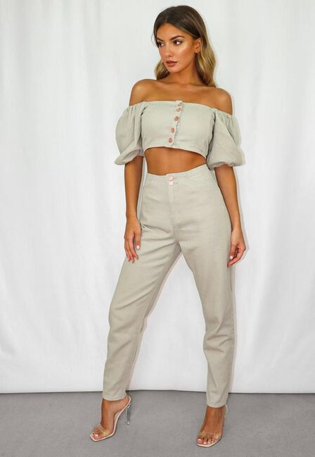 Missguided - Green Sage Co Ord Elasticated Back Mom Jeans