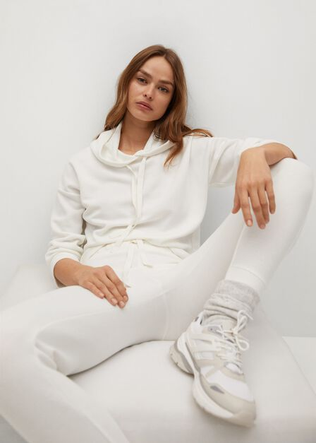 Mango - natural white Knit jogger-style trousers
