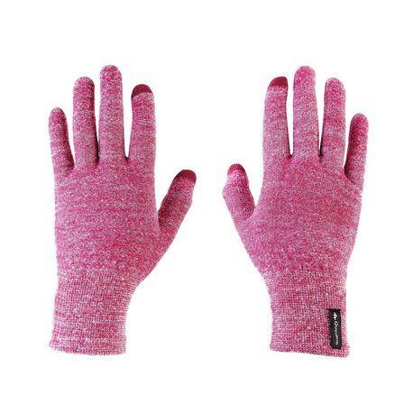 FORCLAZ - XL/2XL  Unisex Touchscreen Compatible Mountain Trekking Liner Gloves Trek 500, Cardinal Pink