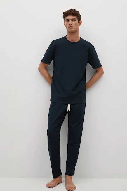 Mango - Navy Organic Cotton Pyjama Pack, Men
