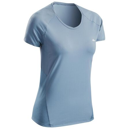 QUECHUA - Large  MH500 Women's Short-sleeved Mountain Hiking T-Shirt, Mouse Grey
