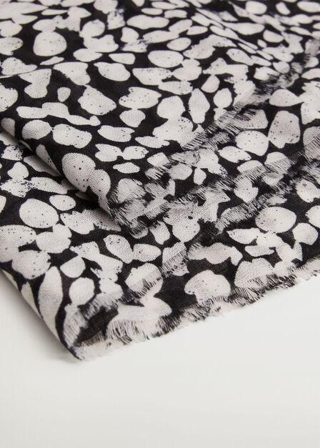 Mango - black Frayed edge scarf, Women