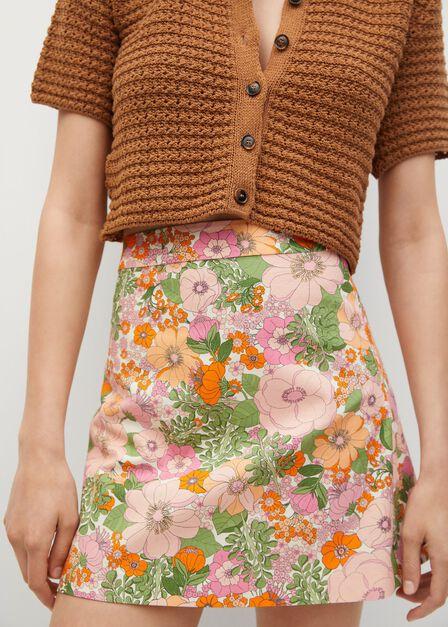 Mango - orange Floral print miniskirt, Women
