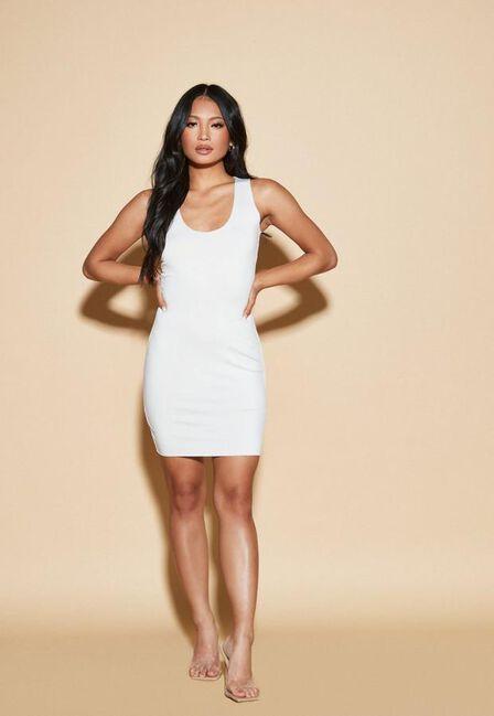 Missguided - Cream Nude Ivory Raw Edge Slinky Racer Mini Dress