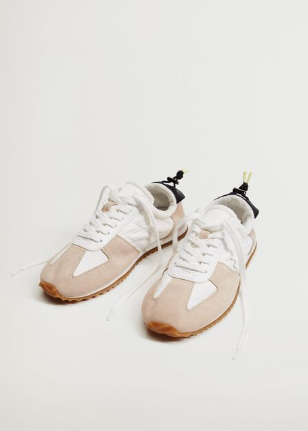 Mango - lt pastel brown Leather mixed sneakers, Women