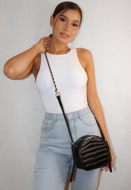 Missguided - Black Croc Round Cross Body Bag