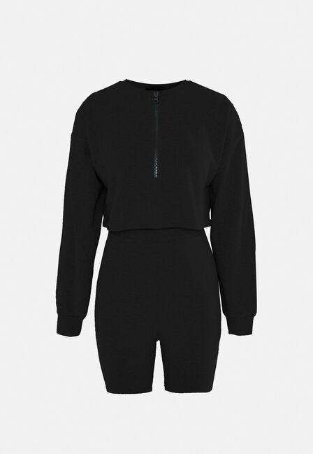 Missguided - Black Half Zip Sweatshirt And Cycling Shorts Co Ord Set
