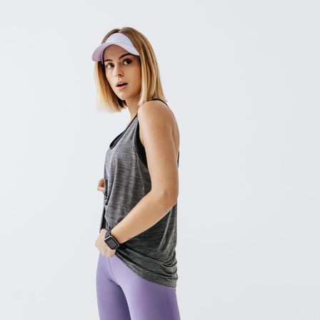KALENJI - M/L  Women's Running Tank Top Run Light, Carbon Grey