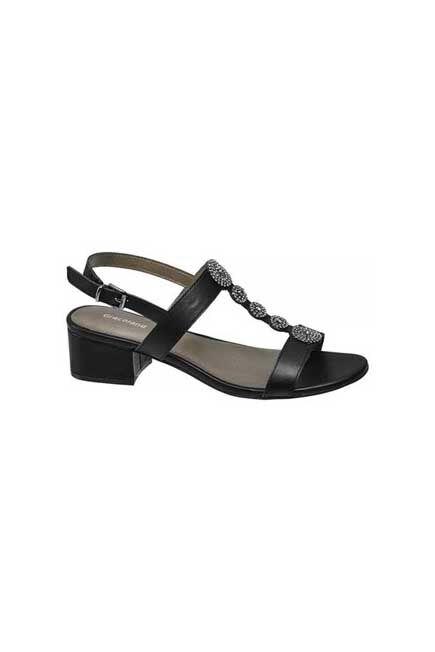 Graceland - Black T-Bar Sandals With Studs, Women