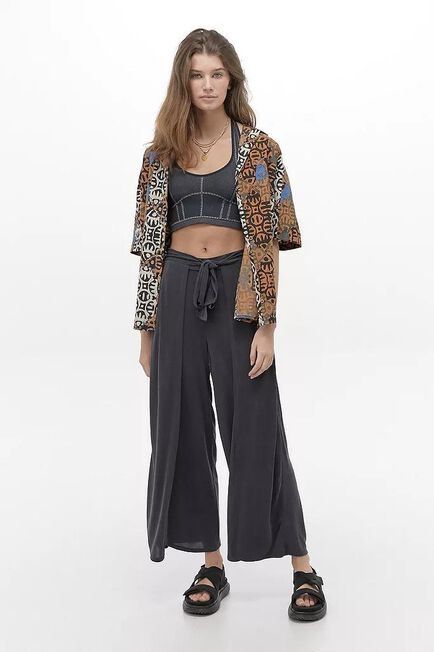 Urban Outfitters - Black UO Cupro Wrap Culotte Trousers
