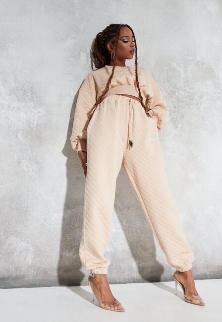 Missguided - Stone Sean John X Missguided Stone Quilted Oversized Joggers