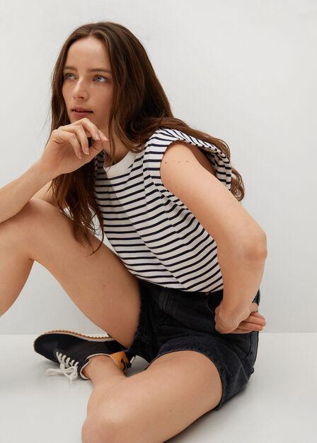 Mango - open grey Straight denim shorts, Women