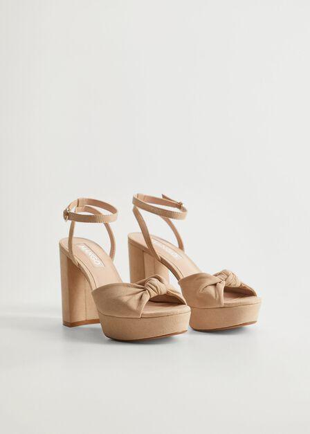 Mango - lt pastel brown Knot heel sandals