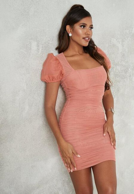 Missguided - Pink Blush Mesh Ruched Puff Sleeve Mini Dress