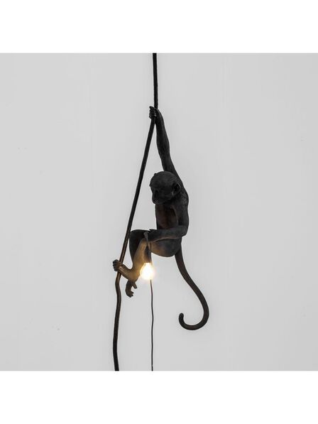 Seletti - Monkey Lamp With Rope Black Outdoor