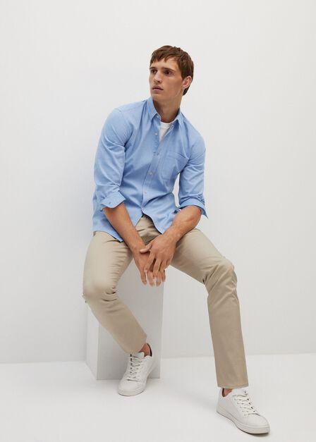 Mango - lt-pastel blue Slim fit modal cotton shirt
