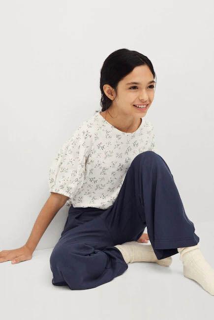 Mango - medium blue Flowy straight-fit trousers
